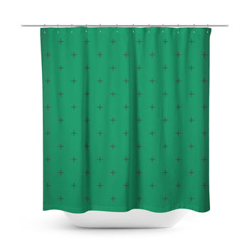 Swiss Cross Forest Green Shower Curtain