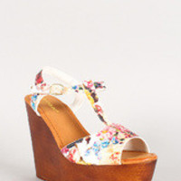 Bamboo Floral T-Strap Faux Wooden Platform Wedge