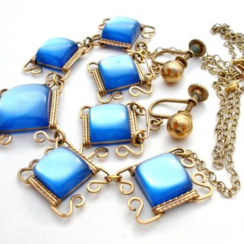 Vintage Gold Filled Blue Thermoset Set Necklace & Earrings