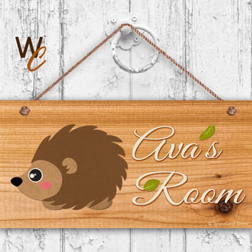 "Hedgehog Sign, Woodland Personalized Sign, Kid's Name, Kids Door Sign, Baby Nursery Cedar Style Wall Decor, 5"" x 10"" Sign, Made To Order"