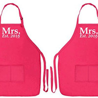 Wedding Shower Gift Mrs. Established 2016 Gay Lesbian Wedding 2 Pack Two Pocket Apron for Cooking Brides Heliconia