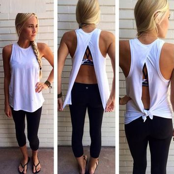 Tank Top Irregular Summer Tops Sexy Women Back Split Blouses Sleeveless Tank O Neck Camis White Femme Tops Sexy Clubwear