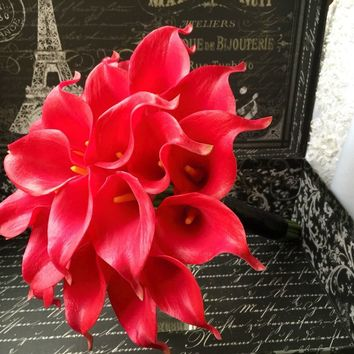 Red Calla Lily Wedding Bouquet, Red bouquet, Real touch Bouquet, Red Bridal Bouquet, Red Wedding Flowers, Red Artificial Flowers