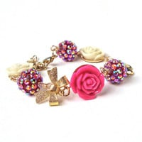 Sparkly pink and white rose bracelet - shimmering gold bow and rose bracelet - harajuku girl - sweet lolita by Sparkle City Jewelry