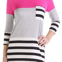 Color Block Spring Tunic - Hot Pink