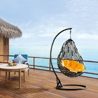 Comfortable Egg-shaped Rattan Outdoor Euro Swing Chair- BP724-BW