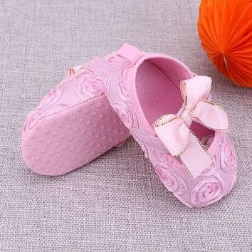 Baby Shoes Girls Rose Flower Soft Sole First Walkers Toddler Kids Princess Bow knot Anti-slip Floral