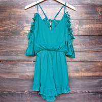peek a boo shoulder romper with ruffle hem - teal