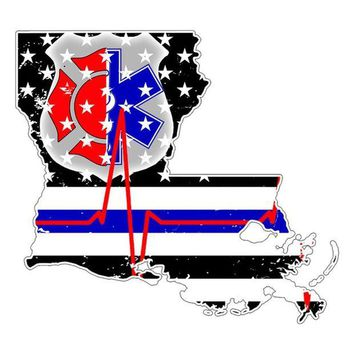 DCCK8UT Louisiana First Responder Thin Blue Line Flag Decal Sticker