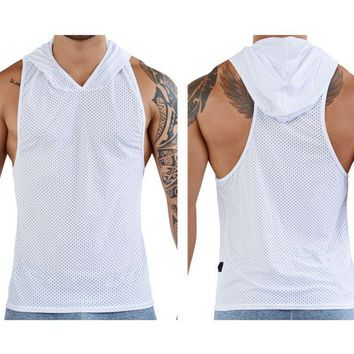 Clever 7029 Aster Hooded Tank Top Color White