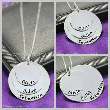 """Three Layer Hand stamped Name Necklace in Sterling Silver 3/4"""", 1"""" and 1 1/4""""  - great for moms or grandmas"""