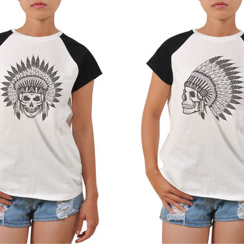 Women Skull wear indian headdress Printed T-shirt WTS_04