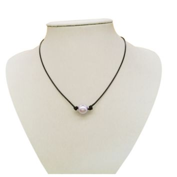 Fashion simple leather pearl necklace diy handmade women pendant
