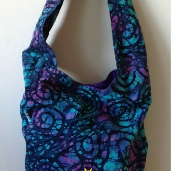 Hippy Satchel, Hobo Bag, Shoulder, Purse, Beach, Diaper, Hippie, Gypsy, Tote, Tie Dye Batik