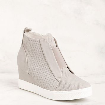All Day Grey Slip On Wedge Sneaker
