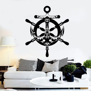 Vinyl Wall Decal Abstract Anchor Ship's Wheel Nautical Sea Style Stickers Unique Gift (2106ig)
