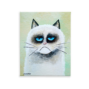 Grumpy Cat Art Original Acrylic Painting on Canvas, Animal Art, Kids Wall Art, Whimsical Folk Art 8x10