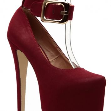 Glaze Burgundy Over Sized Buckle Up Platform Pumps @ Cicihot Heel Shoes online store sales:Stiletto Heel Shoes,High Heel Pumps,Womens High Heel Shoes,Prom Shoes,Summer Shoes,Spring Shoes,Spool Heel,Womens Dress Shoes
