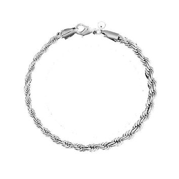 Women's Silver Plated Twist Bangle Cuff Charm Bracelet