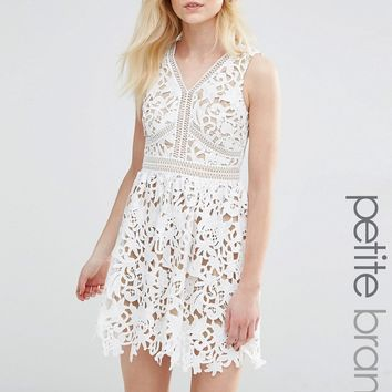 New Look Petite Cutwork Lace Skater Dress