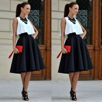 *Online Exclusive* 2 Piece Set with High Waist Skirt and Crop Top
