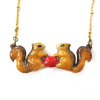 Chipmunk Squirrel Heart Shaped Animal Enamel Pendant Necklace | Limited Edition