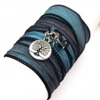Tree of Life Silk Ribbon Wrap Bracelet | charmed design