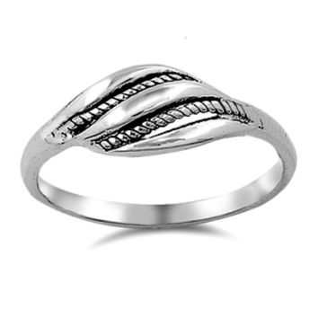 .925 Sterling Silver Celtic Leaf or Feather Beaded Ladies Ring Size 4-9