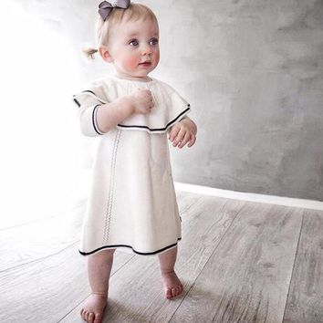 autumn winter baby dress ruffle cotton woolen toddler infant princess girls dress knitted crochet white 1 year birthday dress