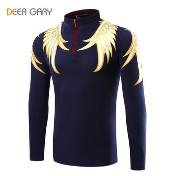 2016 Fashion Design Men's Polo Shirts Printing Pattern Long-sleeved Polo Homme Stand C