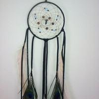 OOAK 5 inch Black Dream Catcher  with amazonite, acai, green kyanite // spirit tribe, dreamcatcher, home decor