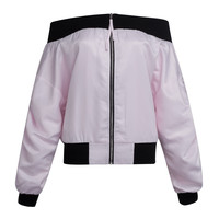 Pink Off Shoulder Contrast Trims Bomber Jacket