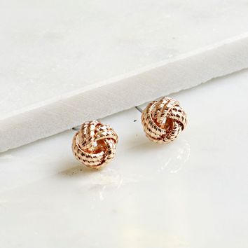 Braided Knot Earrings Gold