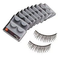 New 10 Pair Reusable Long Fake False Eyelashes Glue Adhesives Eye Lashes Makeup Black C-23