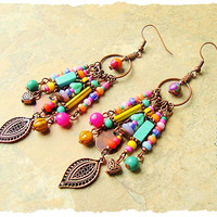 Boho Colorful Earrings, Fun Playful Dangle Earrings, Boho Fashion, Bohemian Jewelry, bohostyleme, Kaye Kraus