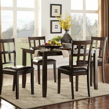 Home Elegance 5422 5 pc thorpe collection espresso finish wood dining table set with upholstered seats