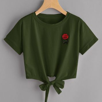 Summer new rosette embroidered lace with short sleeve T-shirt female top