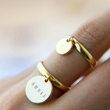Monogram Initial Ring / Personalized Coin Disc Ring / Cute and Dainty Gift for Her