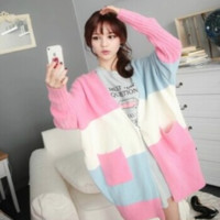 Korea sweet candy color sweater coat