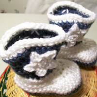 Baby Cowboy Boots-Country Blue and White---Made in the USA--Baby Shower Gift