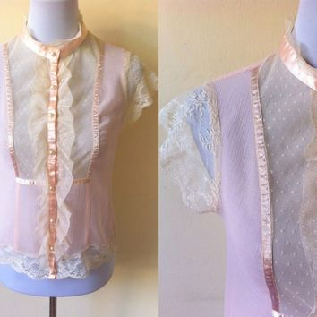 Autumn / Fall Sale: sheer pastel peach bib button down top (small), see through Edwardian / Victorian inspired blouse