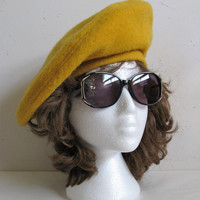 Vintage 1980s Wool Beret Mustard Kates Boutique 80s Wool Felt Ladies Hat
