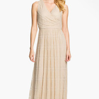 Donna Ricco Textured Front Pleat Surplice Maxi Dress | Nordstrom