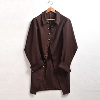 1pc Men Military Vintage Victorian Coat Gothic Steampunk Trench Outwear