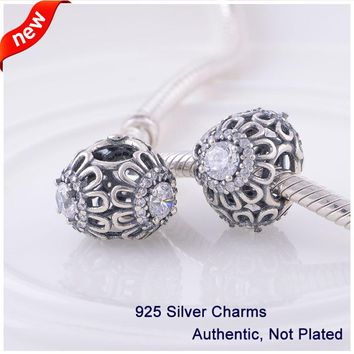 LW365 1PCS/lot Fashion 925 Sterling Silver Beads Glass Hollow Flower Charms Fits Pandora bracelets DIY making Jewelry