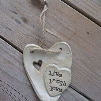 LIVE LAUGH LOVE pottery cross ornament.  Handmade.