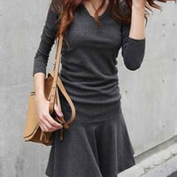 Deep Gray Ruffled V-Neck Long Sleeve Mini Dress