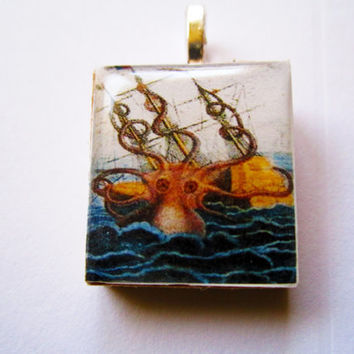 Octopus scrabble tile necklace pendant by InsomniaStudios on Etsy