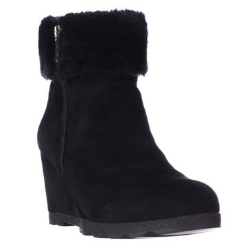 A35 Oreena Wedge Winter Ankle Booties, Black, 5.5 US
