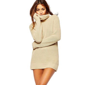 Women Cowl Neck Knitted Pullovers Sweaters Tunic Dresini Jumper Clothes PY9 SM6